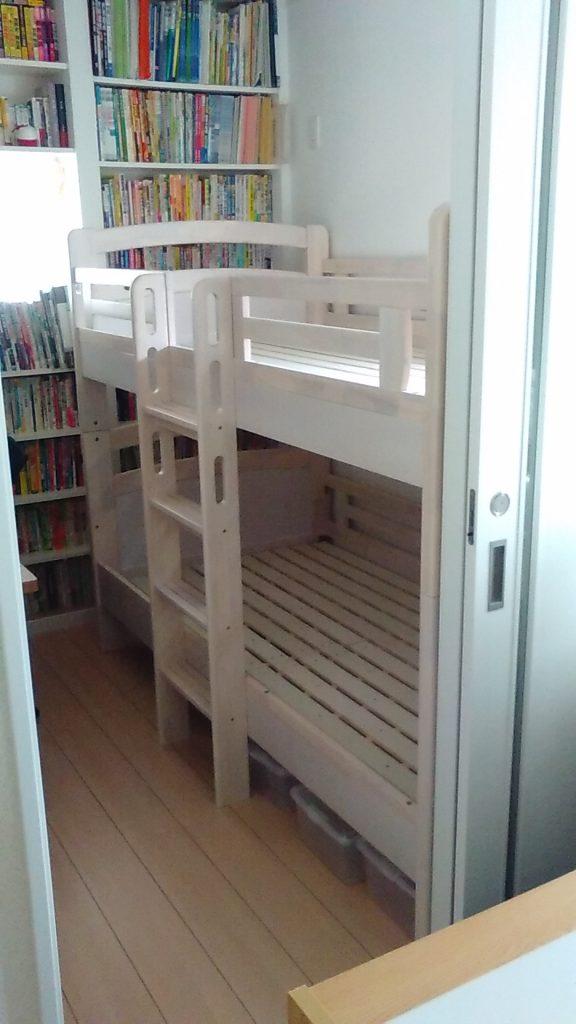 組み立て簡単 2段ベッド セパレイト可能 おしゃれ 白木