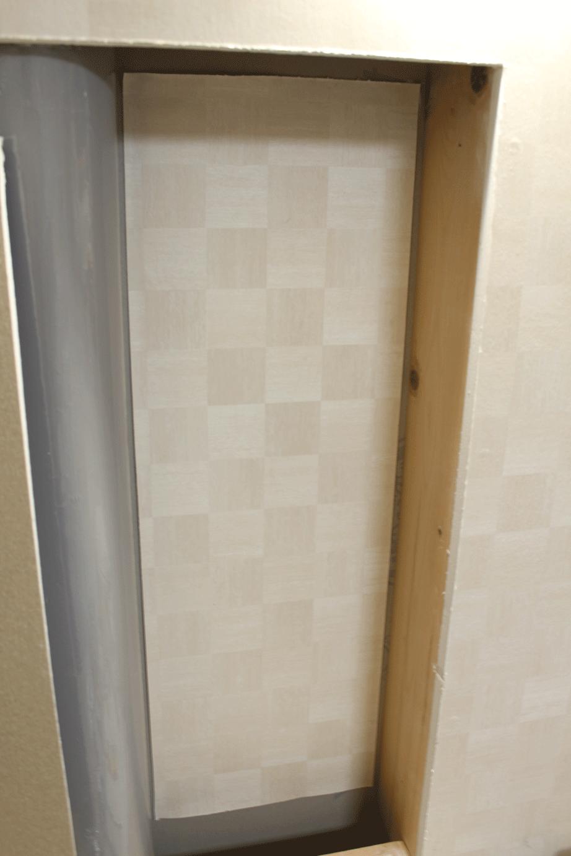 壁,面,ニッチ,作成,DIY,壁紙,再利用,作り方