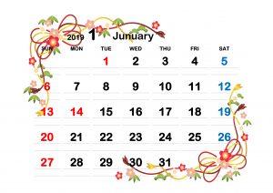 イラスト,季節,1月,2019年,西暦,英語,無料,ダウンロード,配布,テンプレート,カレンダー